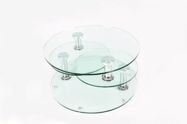 Three Layers Round Glass Adjustable Coffee Table