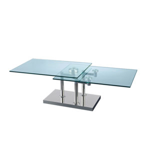 Two Layers Rectangular Glass Terse Coffee Table