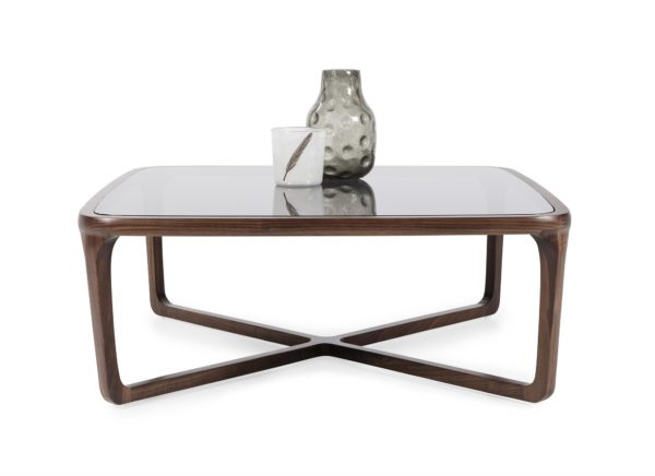 Grey Glass Wooden Square Coffee Table