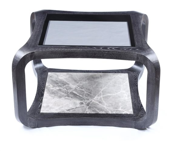 Two Layers Elm Square Coffee Table with Marble Medium