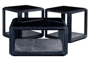 Two Layers Elm Square Coffee Table with Marble Large