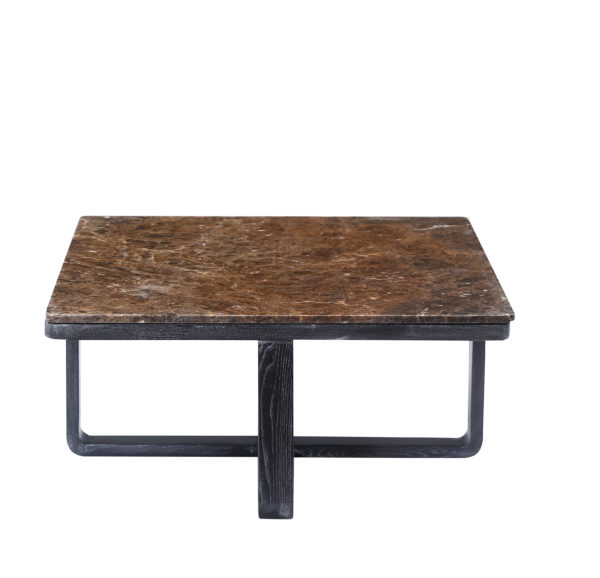 Brown Marble Wooden Elm Square Coffee Table Large