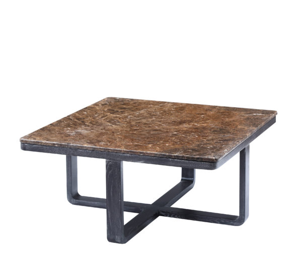 Brown Marble Wooden Elm Square Coffee Table Medium
