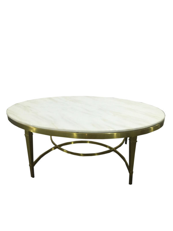 White Marble Metal Disciform Coffee Table