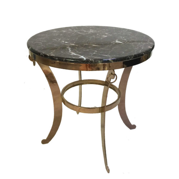 Dark Marble Metal Round Side Table