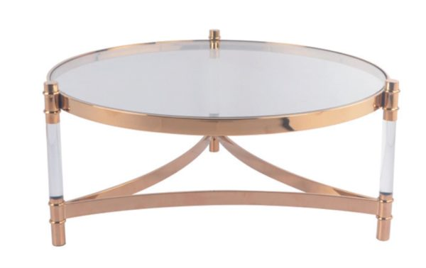 Rose Gold Concise Style Round Coffee Table