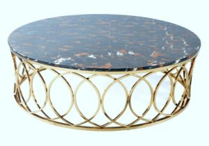 Oval White Marble Coffee Table with Rose Gold Base