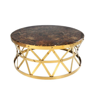 Rose Gold Round Coffee Table with Rattan Style Base