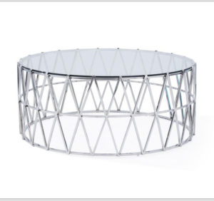 White Round Coffee Table with Rattan Style Base