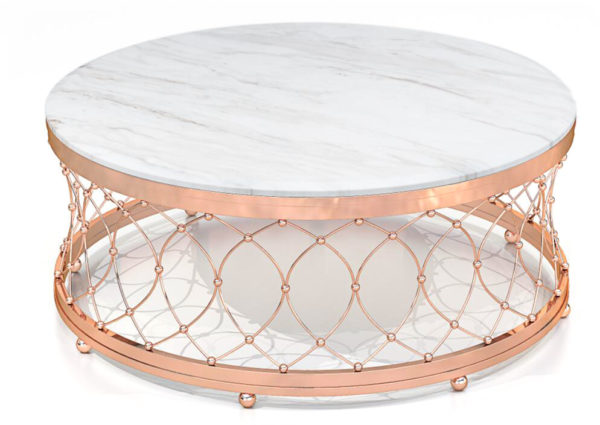 White Round Marble Table with Cancellated Style Base