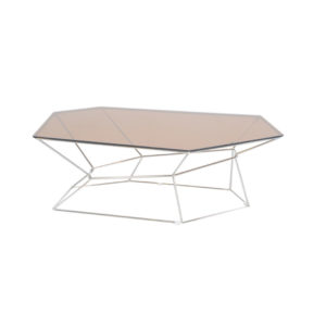 Hexagon Rose Gold Coffee Table with Creative Base