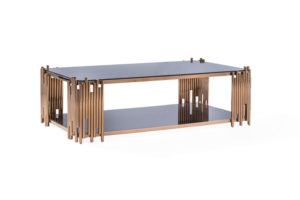 Fausto Rose Gold Rectangular Coffee Table