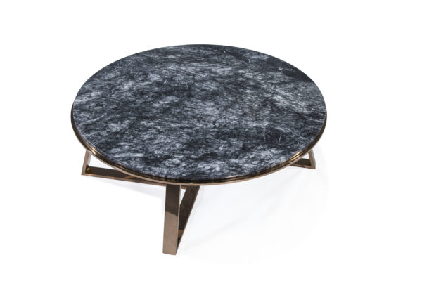 Black Mable Coffee Table with Subuliform Base