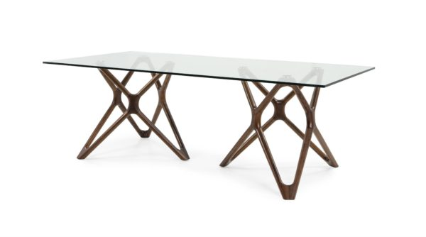 Rose Gold Table with Rectangular Glass