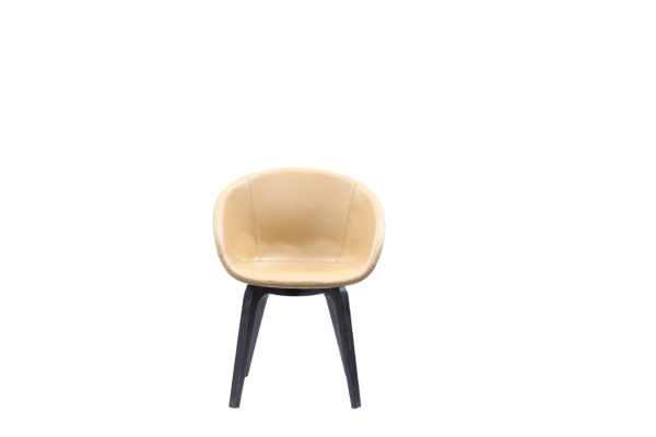 Apricot Faux Leather Comfortable Elm Chair
