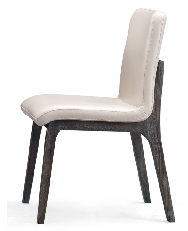 Whhie Faux Leather Concise Elm Chair