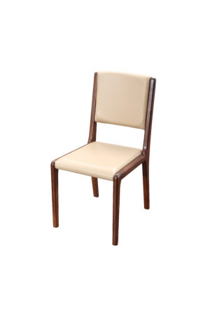White Faux Leather Stylish Walnut Chair
