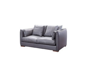Leather 2 seats Dark Grey Sofa