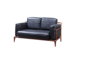 Bruni 2 seats Black Leather Sofa