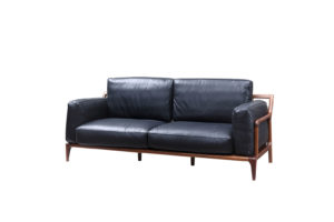 Bruni 3 seats Black Leather Sofa