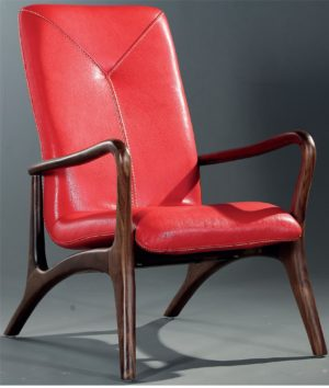 Bruni Artistic Red Leather Armchair