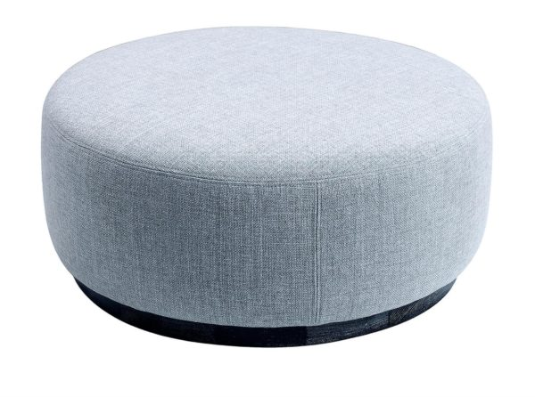 Round Leather Light Grey Backless