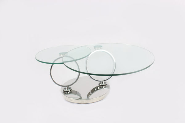 Two Layers Round Glass Coffee Table