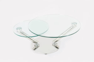 Two Layers Round Glass Adjustable Coffee Table