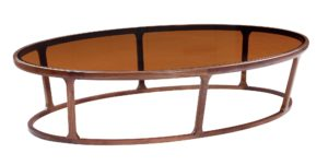 Brown Glass Wooden Elliptical Coffee Table