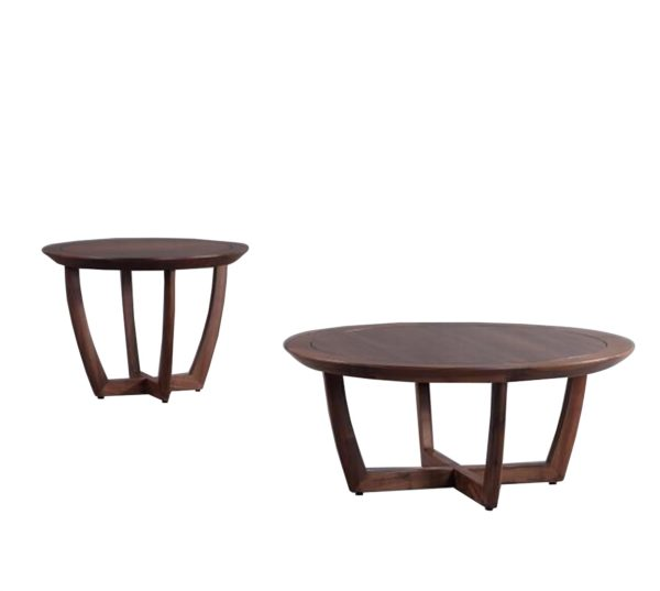Brown North American Walnut Round Coffee Table