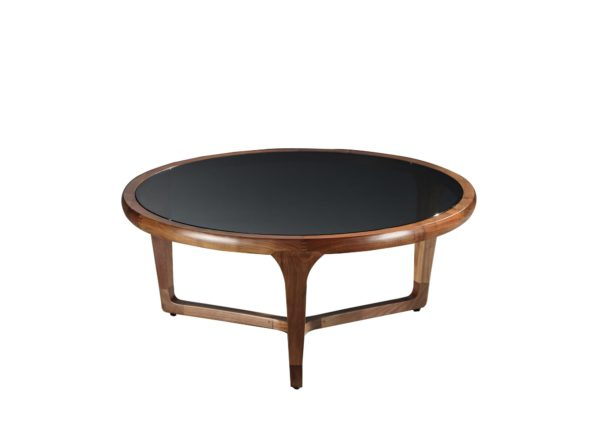 Grey Glass Wooden Round Coffee Table